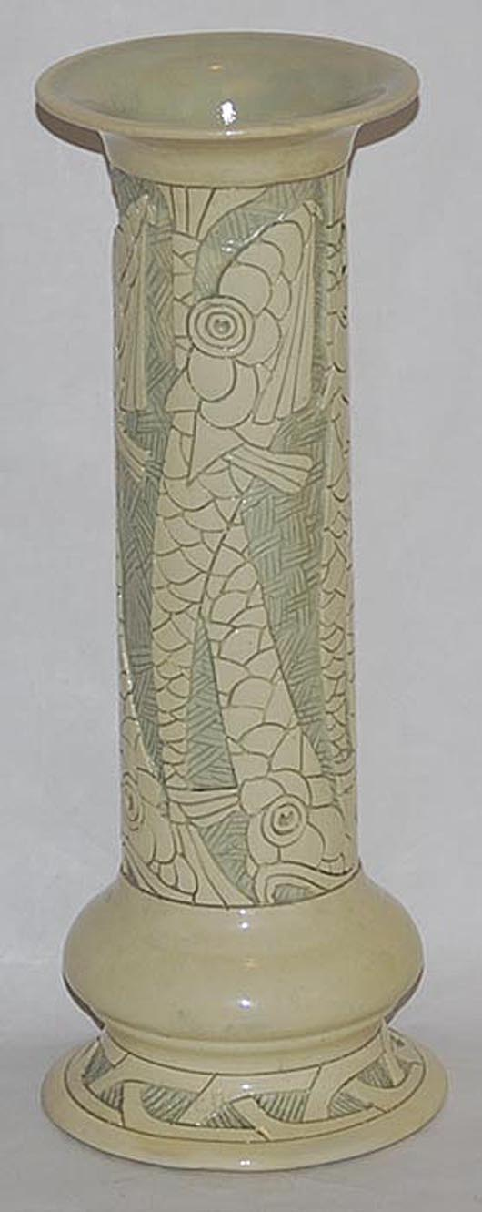 Roseville Della Robbia vase with carved fish design. Estimate: $2,500-$5,000. Image courtesy of Just Art Pottery Auction.