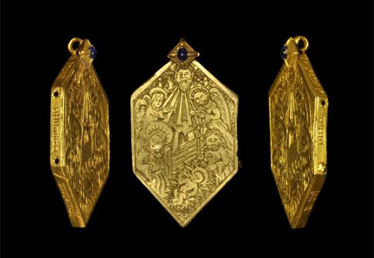 Gold medieval Nativity reliquary pendant. Estimate: $33,000. Image courtesy of TimeLine Auctions.