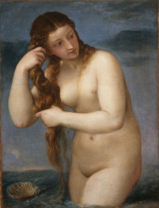 Someone painted a red swimsuit over Titian's 'Venus Anadyomene,' on a billboard in Minneapolis.  (National Gallery of Scotland). Image courtesy of Wikimedia Commons.