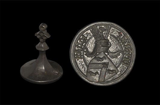 Armorial seal matrix. Estimate: $8,000. Image courtesy of TimeLine Auctions.