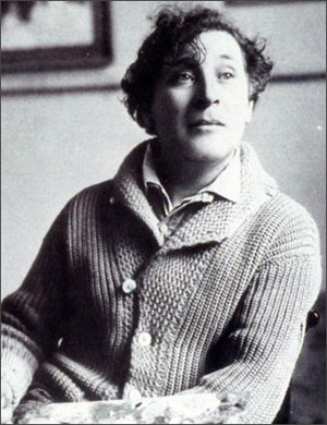 Chagall in a 1921 photograph taken in Paris. Image courtesy of Wikimedia Commons.