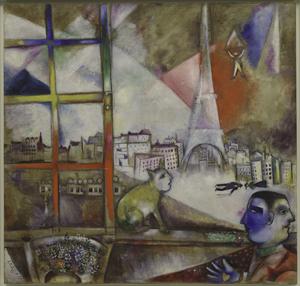Paris Through the Window (Paris par la fenêtre), 1913. Marc Chagall, French (born Belorussia), 1887‑1985. Oil on canvas, 53 1/2 x 55 3/4 inches (135.9 x 141.6 cm). Philadelphia Museum of Art.