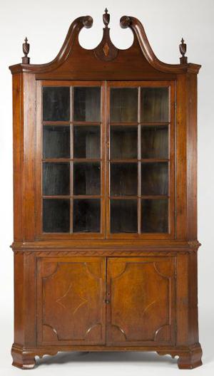 Important North Carolina inlaid corner cupboard, Davidson or Guilford County, circa 1820 (est. $15,000 to $25,000). Image courtesy of Leland Little Auction & Estate Sales Ltd.