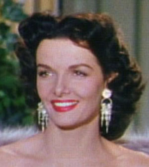 Film star Jane Russell (1921-2011) in a closeup from Gentlemen Prefer Blondes, 1953, 20th Century Fox.