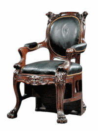 This 1850s American Renaissance carved oak chair turns into a five-step ladder. The chair has paw feet and a carved head on the lower seat rail. It closely resembles a patented American chair by Augustus Eliaers of Boston. The metamorphic chair is estimated to sell at a spring Neal Auction in New Orleans for $5,000 to $7,500.