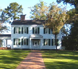 The restored Gregory House sits on high bluff with a magnificent view of the Apalachicola River.