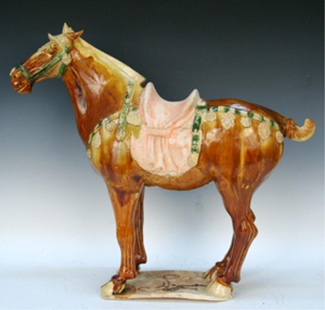 This Tang Dynasty sancai-glazed horse is estimated at $70,000-$75,000. Image courtesy of Showplace Antique & Design Center.