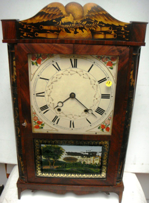 Rare circa-1830 Eli Terry Jr. transitional 30-hour woodworks clock in mahogany case. Image courtesy of Tim's Inc.