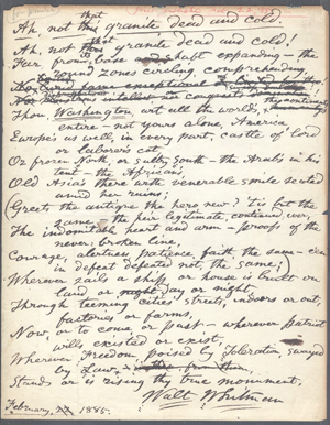 Walt Whitman signed working manuscript of a poem initially titled 'Ah, not that Granite Dead and Cold,' later published as 'Washington's Monument,' $57,750. Dirk Soulis Auctions image.
