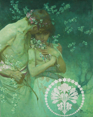 Alphonse Mucha (Czechoslovakian, 1860-1939), portrait of young lovers, oil on canvas laid to board, artist signed (authentication pending), 15½ by 20 inches, estimate $100,000-$200,000. Nest Egg Auctions image.