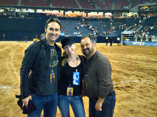 Auction Central News columnist Reyne Haines in Houston with the visiting American Pickers Mike Wolfe (left) and Frank Fritz (right). Image courtesy of Reyne Haines.