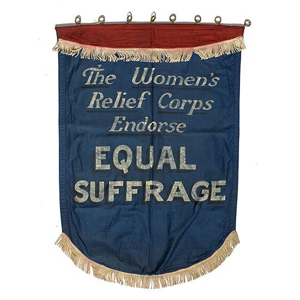 This banner came from the estate of American suffragette Alice Paul. Image courtesy of LiveAuctioneers and Cowan's Auctions Inc.