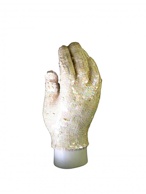 Michael Jackson personally worn and owned white sequined glove from the Thriller era, circa 1982. It is in excellent condition and carries a $50,000-$60,000 estimate. Image courtesy of Premiere Props.