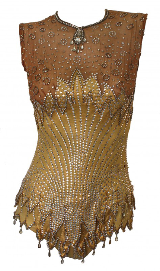 Britney Spears (2008) – This vintage gold rhinestone encrusted bodysuit was worn by Spears in the video for the title track from her 2008 comeback album 'Circus.' Estimate: $15,000-$17,000. Image courtesy of Premiere Props.