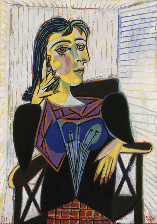 Portrait of Dora Maar, 1937, Pablo Picasso (Spanish, 1881–1973) oil on canvas, 361⁄4 x 25 9/16 in. (92 x 65 cm) Musée National Picasso, Paris ©2010 Estate of Pablo Picasso / Artist Rights Society (ARS), New York. Photo: Réunion des Musées Nationaux / Art Resource, NY