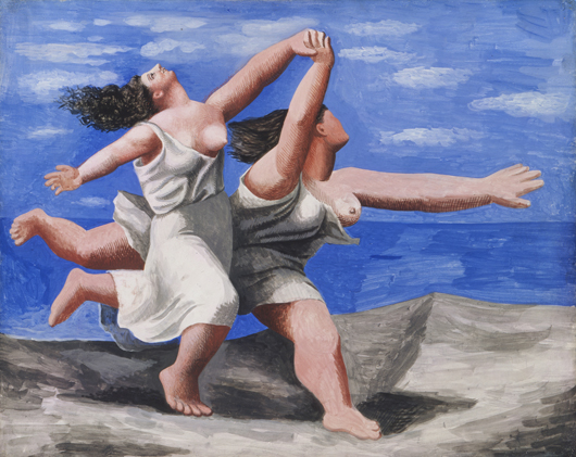 Two Women Running on the Beach (The Race), Summer 1922, Pablo Picasso (Spanish, 1881–1973) gouache on plywood, 12 13/16 x 16 3/16 in. (32.5 x 41.1 cm) Musée National Picasso, Paris ©2010 Estate of Pablo Picasso / Artist Rights Society (ARS), New York. Photo: Réunion des Musées Nationaux / Art Resource, NY