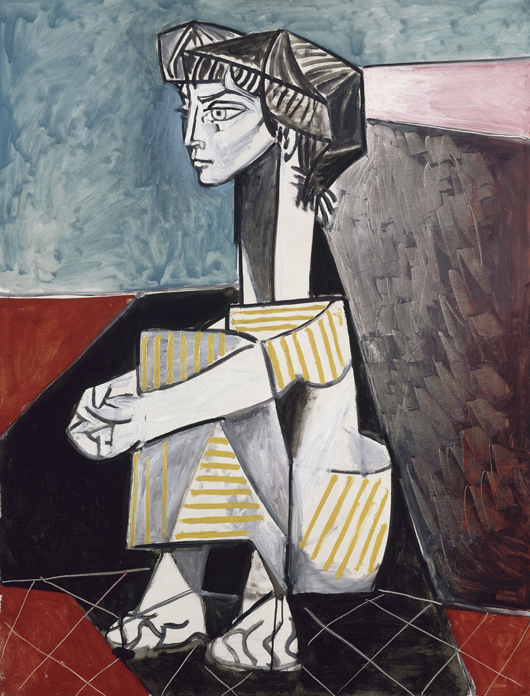 Jacqueline with Crossed Hands, June 3, 1954, Pablo Picasso (Spanish, 1881–1973) oil on canvas, 45 11/16 x 34 13/16 in. (116 x 88.5 cm) Musée National Picasso, Paris ©2010 Estate of Pablo Picasso / Artist Rights Society (ARS), New York. Photo: Réunion des Musées Nationaux / Art Resource, NY