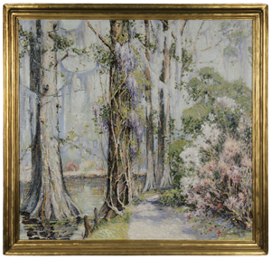 Fans of Alfred Hutty would have traded all of their engravings for this colorful spring oil painting. The painting, 31 7/8 inches by 34 inches, opened at $5,000 and sold to the phones for $67,200. Image courtesy of Brunk Auctions.