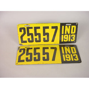 None of the license plates on Adams' barn is as old as this set of 1913 Indiana porcelain-enameled plates. Image courtesy of LiveAuctioneers Archive and Cowan's Auctions Inc.