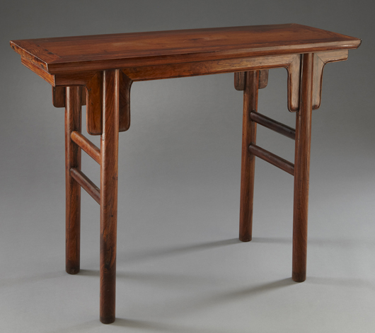 Chinese early Qing Huanghuali altar table, circa 17th century. Price realized: $67,375. Image courtesy of Dallas Aucton Gallery.
