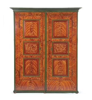 Wardrobe, or schrank, Bluffton, Ohio, dated 1858. Image courtesy of the Midwest Antiques Forum.