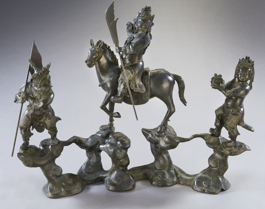 Important Chinese late Ming-early Qing bronze Guan Gong figural group, 31inches high x 39 inches wide, circa 17th century. Price realized: $67,375. Image courtesy of Dallas Aucton Gallery.