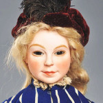 Circa-1912 Van Rozen 17-inch character doll, French, jointed composition and wood body, ceramic bisque-type head. Estimate $6,000-$10,000. Morphy Auctions image.