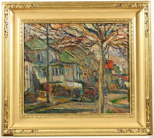 Abraham Manievich (Russian 1881-1942), 'Quiet Autumn Day,' oil on board, with another, unfinished, painting of a busy street scene on the verso, 22 3/8 x 26 1/2 inches, signed lower right. Estimate: $20,000-25,000. Gene Shapiro Auctions image.