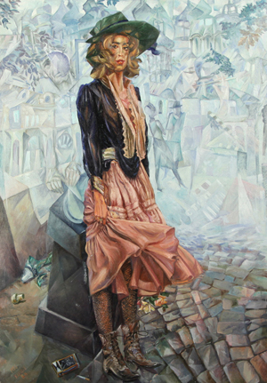 Vyacheslav Kalinin (Russian, born 1939), 'Devushka iz 'Pleyboya,' (Girl from Playboy Magazine), 1986, oil on canvas, 55 1/8 inches x 39 3/8 inches, signed and dated lower left; signed, titled, and dated on the verso in Cyrillic. Estimate $20,000-$30,000. Gene Shapiro Auctions image.