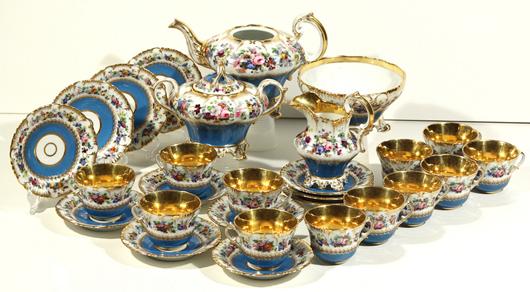Russian porcelain tea service,  28 pieces total, Popov Manufactory, 19th century, $8,000-10,000. Gene Shapiro Auctions image.