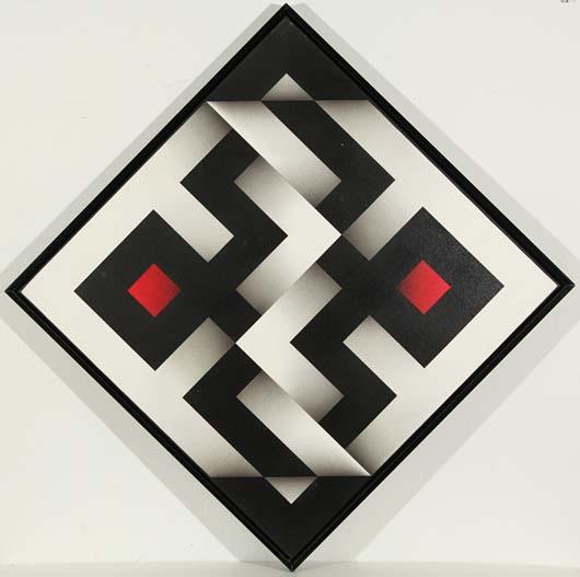 Omar Rayo (Colombian, 1928-2010), 'Ibawabi,' 1975, acrylic on canvas, 26 x 26 inches), $15,000-20,000. Gene Shapiro Auctions image.