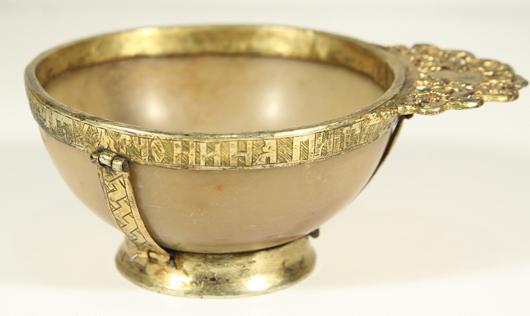Russian gilt silver and onyx charka, 17th century. Estimate: $6,000-8,000. Gene Shapiro Auctions image.