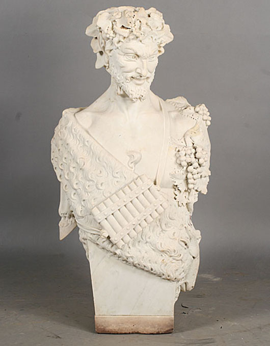 Exceptional carved marble satyr figure, signed 'Prof. Andreini Firenze,' dated 1907. Estimate: $8,000- $12,000. Image courtesy of Kamelot Auctions.
