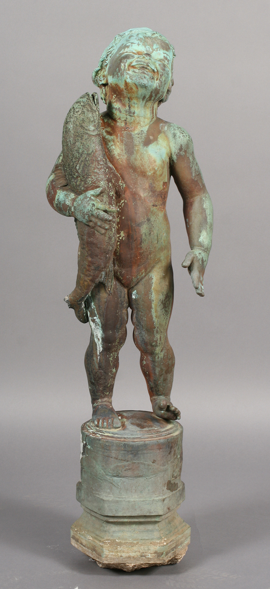 Large scale American Edith Baretto Parsons signed bronze fountain figure 'Fish Baby,' circa 1920. Estimate: $10,000-$15,000. Image courtesy of Kamelot Auctions.