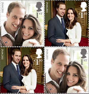 The British Royal Mail's new stamps featuring the official engagement portraits taken by world-renowned photographer Mario Testino.