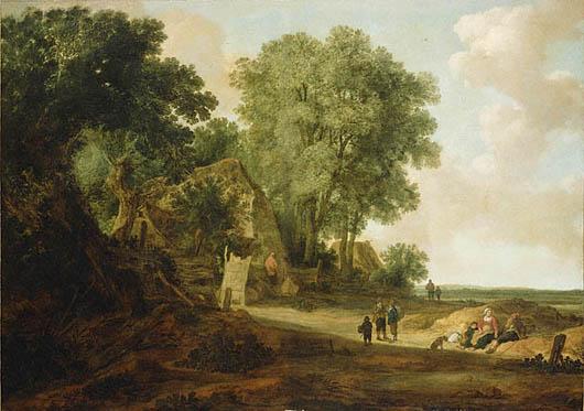 Pieter Molijn (Dutch, 1625-1650), Landscape with Cottage and Figures.