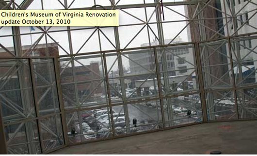 View of current construction to renovate and expand the Children's Museum of Virginia in Portsmouth. Image used with permission of Children's Museum of Virginia.