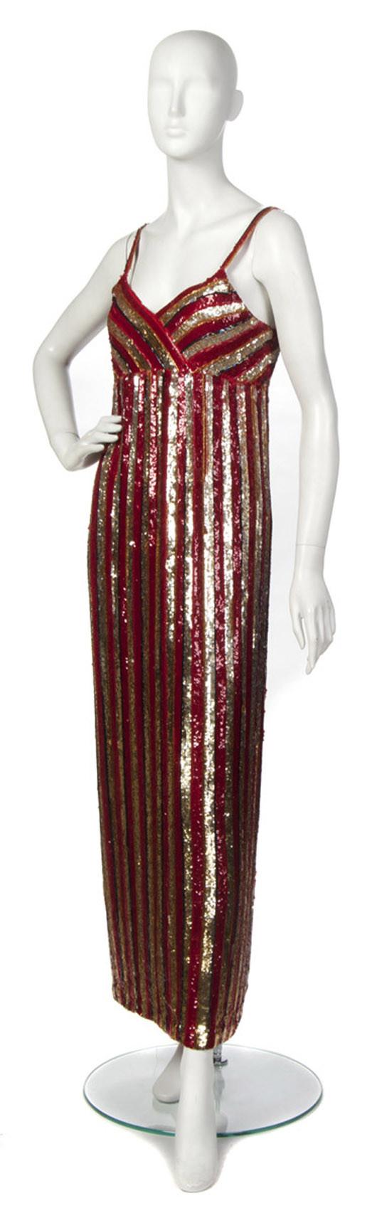 Saks Fifth Avenue gold and red sequin and beaded evening gown. Labeled: Saks Fifth Avenue. Property from the Collection of Gladys Knight, Las Vegas, Nevada. Estimate $600-$800. Image courtesy Leslie Hindman Auctioneers.