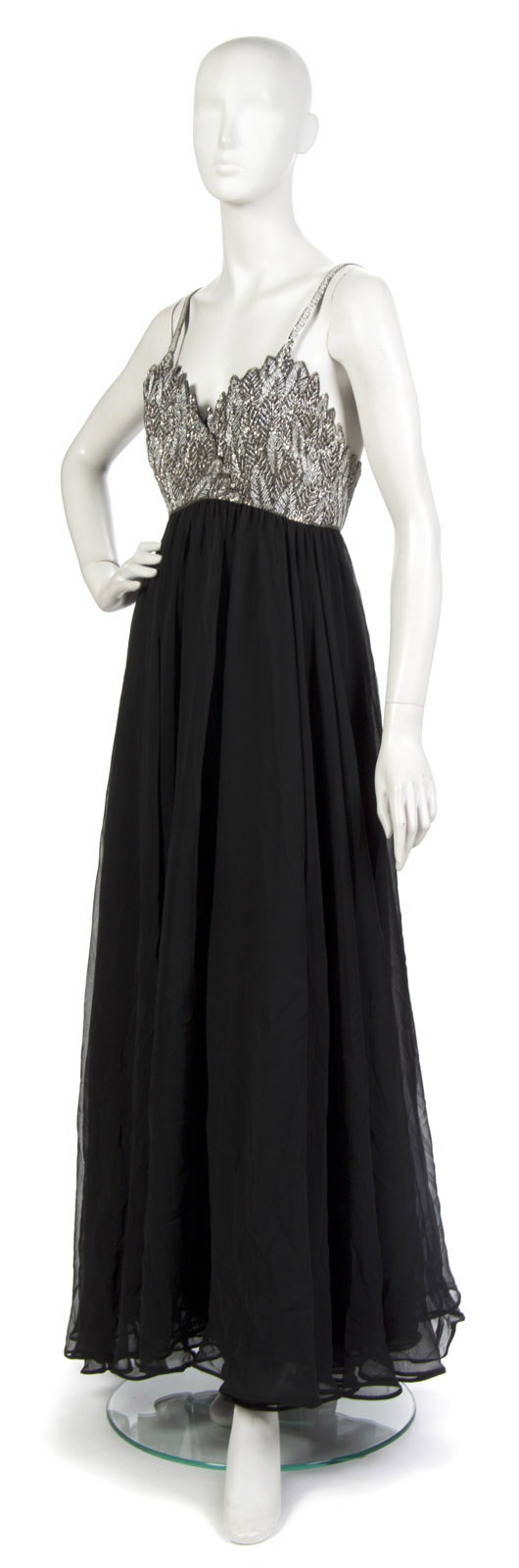 Giorgio of Beverly Hills silver beaded and black chiffon evening gown. Labeled: Giorgio. Property from the Collection of Gladys Knight, Las Vegas, Nevada. Estimate: $400-$600. Image courtesy Leslie Hindman Auctioneers.