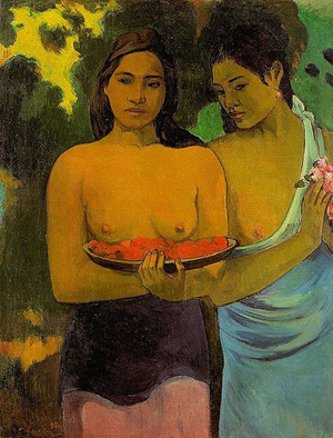Eugene Henri Paul Gauguin (French, 1848-1903), Two Tahitian Women, 1899, oil on canvas, from the permanent collection of The Metropolitan Museum of Art, Gift of William Church Osborn, 1949.