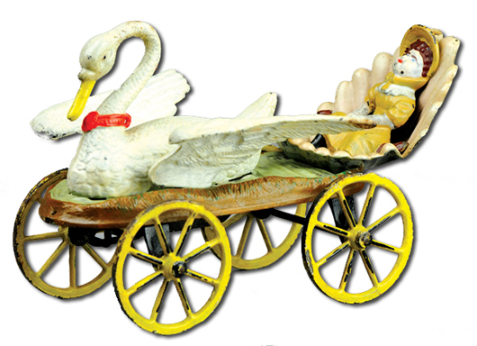 J. & E. Stevens cast-iron Swan Chariot with original wood factory box, $21,850. Bertoia Auctions image.