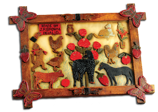 """Folk art carved picture in carved """"self"""" frame, includes carved calling card """"Made by J.P. Brown Invalid,"""" $21,850. Bertoia Auctions image."""