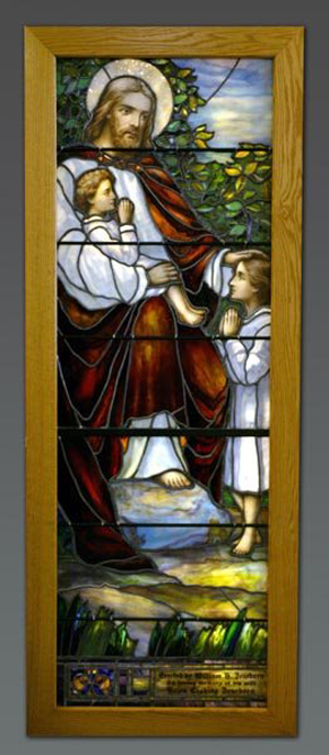 An example of a Tiffany stained glass church window. Image courtesy of LiveAuctioneers Archives and Quinn's Auction Galleries and Waverly Auctions.