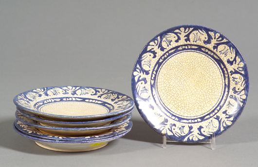 With an eye on auction offerings, collectors can gradually assemble a large service of Dedham rabbit-bordered pottery. This lot of 6 bread and butter plates went for $382 at a December 2007 sale. Image courtesy Skinner Inc.