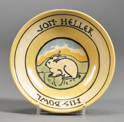 """The Paul Revere Pottery in Boston would personalize children's dishes with the owner's name. This 1937 rabbit-decorated bowl with the inscription """"Jon Heller - His Bowl"""" sold for $326 last December. Image courtesy Skinner Inc."""