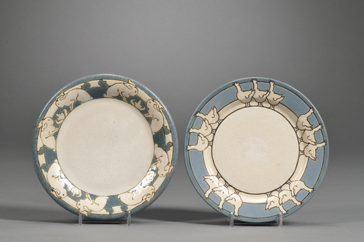 The female decorators of the Saturday Evening Girls Pottery in Boston also edged services with animal borders. These plates – one surrounded by stylized rabbits, one by geese – date to 1913 and 1911 respectively; the pair brought $1,659 at Skinner's in December 2010. Image courtesy Skinner Inc.