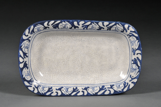 Highly desirable to collectors of the ware, this attractive rectangular platter comes up for sale in June. Image courtesy Skinner Inc.
