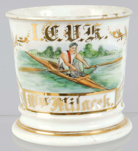 Occupational shaving mug with image of man in kayak, near mint, estimate $2,000-$3,000. Morphy Auctions image.