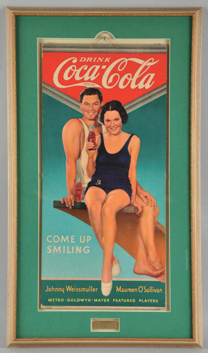 1934 Coca-Cola poster featuring film stars Johnny Weissmuller and Maureen O'Sullivan, estimate $3,000-$5,000. Morphy Auctions image.