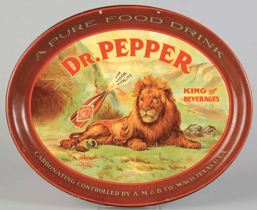 """Oval Dr Pepper """"King of Beverages"""" serving tray with image of lion, near mint, estimate $6,000-$9,000. Morphy Auctions image."""